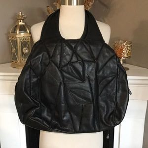 Isabella Fiore Black Large Leather Patchwork Hobo